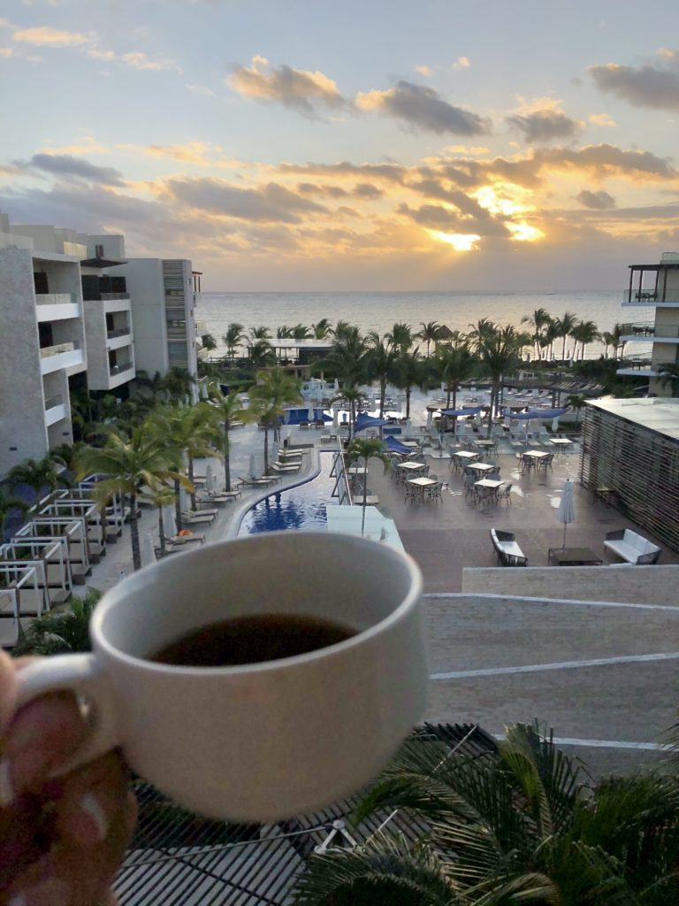 Morning Coffee In The Diamond Club section of Royalton Riviera Cancun.